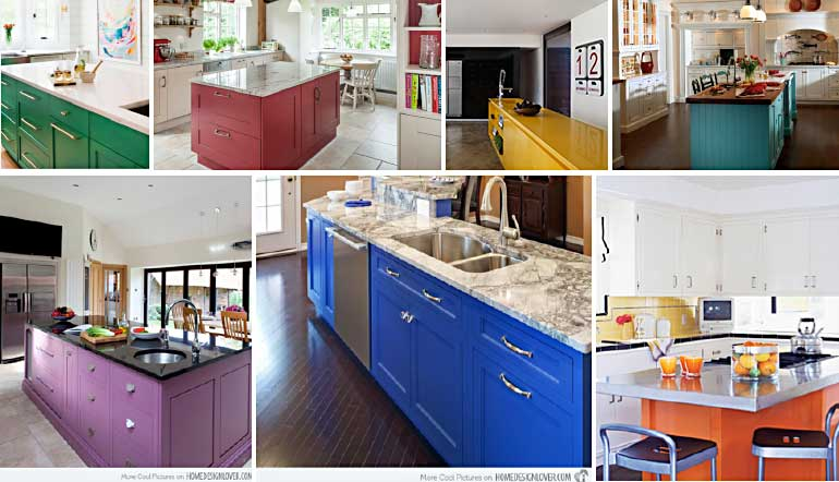 Colourful Kitchen Islands