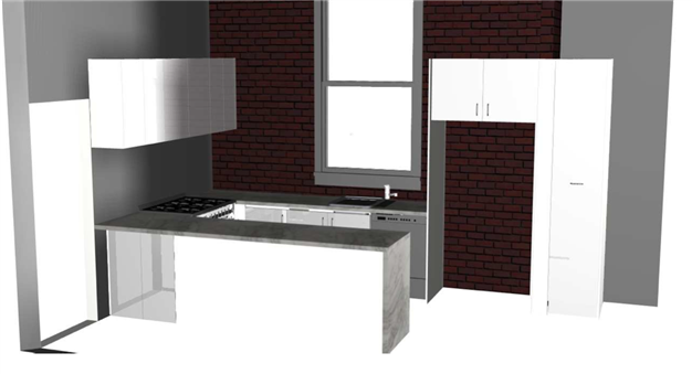3D computer image of planned kitchen design