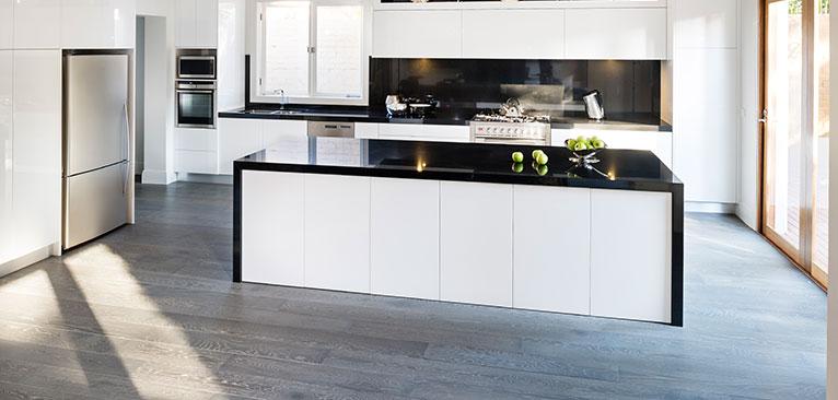 Dark Benchtops For White Kitchens And Dark Floors