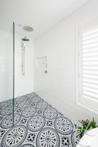 Shower with tiled floor