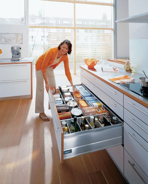 A deep drawer from Blum where everything is so accessible.